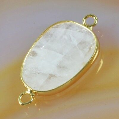 Natural White Quartz Faceted Bezel Connector Gold Plated B051432