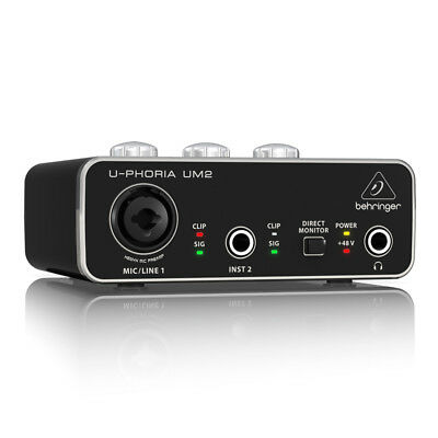 Behringer UM2 U-Phoria Audiophile 2x2 USB Audio Interface Studio DJ