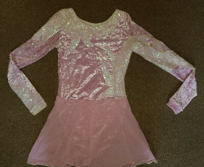 HM Pink Velvet Sequin Ice Skating Competition Dress Girls Size 8-10 Years