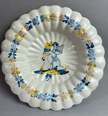 Rare Antique Nevers France Faience 17th Century Lobbed Bowl Putti & Pan Flute