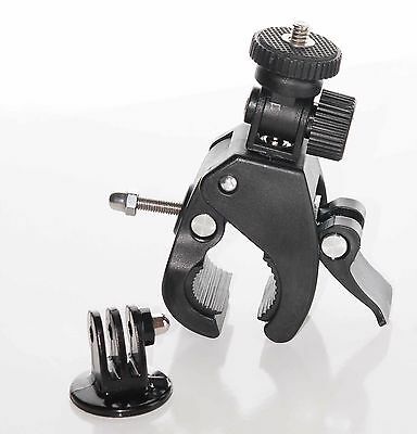 Fixation camera embarquee pince moto guidon velo action cam gopro + adaptateur