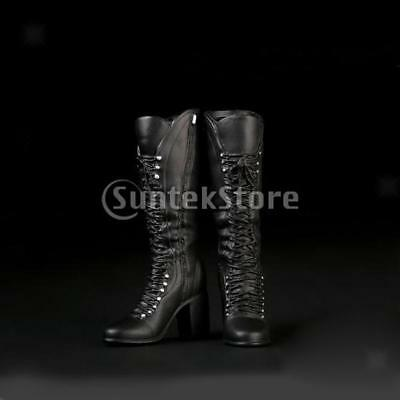 1:6 Black Mid High Heels Boots for 12'' Hot Stuff Phicen Kumik Figure Shoes