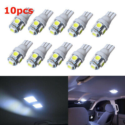 10x T10 194 5050 5SMD White LED Light Super Bright Car Interior Wedge Lamp 12V