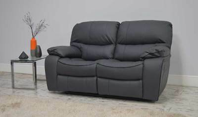 Clearance Beaumont Grey Leather Recliner 2 Seater Sofa T4986