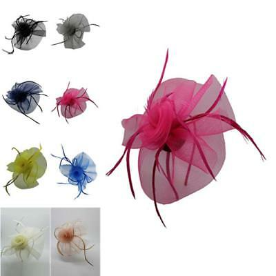 Elegant Flower Feathers Detail Fascinator Wedding Hat Royal Ascot Headband Clip