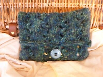 Tarot or Oracle CardsBag / Knitted Bag- Lace Knitting - Handmade - Green