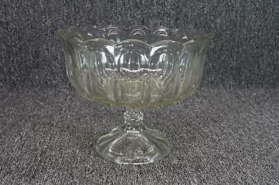 "Vintage Clear Glass Footed Compote 9"" W X 7 3/8"" T"