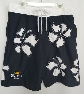 aaafdf563e Men's Corona Extra Beer Board Shorts Swim Trunks Size XL Navy Blue White  Floral