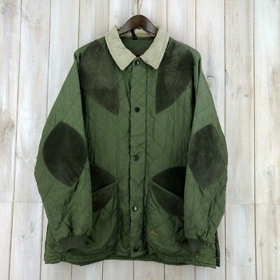 Vintage Men's Made In UK Barbour Green Quilted Quilt Shooting Hunting Jacket XL