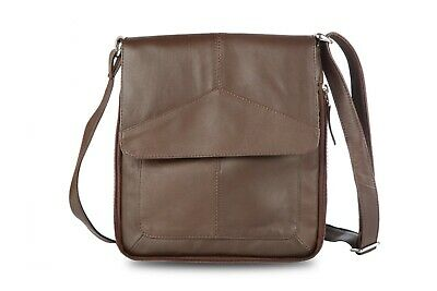 Real Leather Soft Ladies Gents Cross Body Bag Black Brown Biege Woven Leather