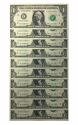 10 Consecutive Serial # Uncirculated $1 BILL * STAR * NOTES in 10-Page ALBUM