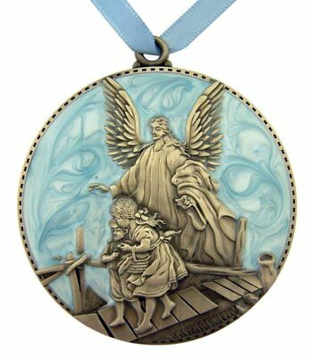 "3-1//4/"" Blue Beautiful Guardian Angel Moulded Crib Medal for Baby Nursery Room"