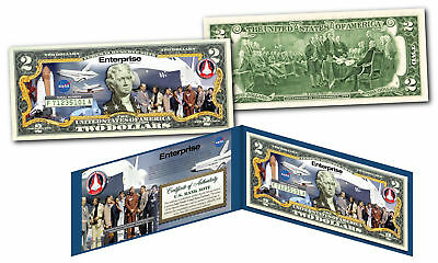 Space Shuttle ENTERPRISE Missions Official U.S $2 Bill NASA feat. STAR TREK Cast