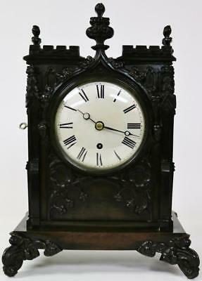 Antique C1850 English 8 Day Single Fusee Bronze Gothic Cathedral Bracket Clock