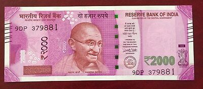 INDIA 2000 Rupees Banknote World Paper Money UNC Currency Pick p-New 2016 Gandhi