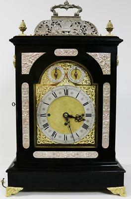 Antique English Ebonised Triple Fusee Musical 8 Bell Basket Top Bracket Clock