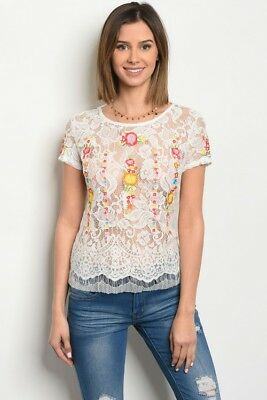 Women Sheer Lace Open Back Embroidery Top Blouse Slim Fit Lace Up Layer Stretch