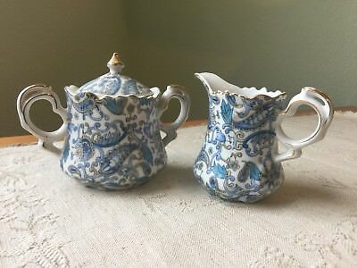 Vintage 1974 LEFTON JAPAN Blue Paisley Chintz Lidded Sugar Bowl & Creamer