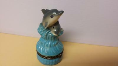 Dolphin Mother Baby Hinged Porcelain Trinket Box Ocean Jewelry Covered Figurine