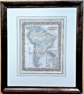 Large Framed 1876 S. Augustus Mitchell SOUTH AMERICA MAP DLJ Americana Collectio