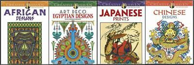 SALE~ 4 ADULT COLORING BOOKS ~ WORLD DESIGNS Lot 1 ~ PERFORATED PGS FREE US SHIP