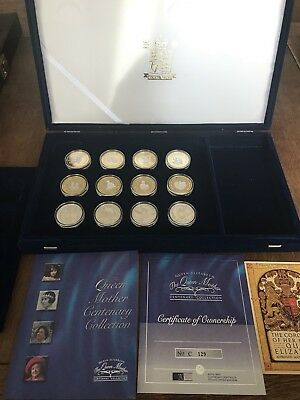 Royal Mint 2000 Queen Mother Centenary Silver Proof Coin Collection 12 Coins
