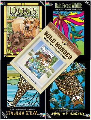5 ADULT STAINED GLASS COLORING BOOKS ~ ANIMALS ~ FREE SET OF FELT PENS Free Ship