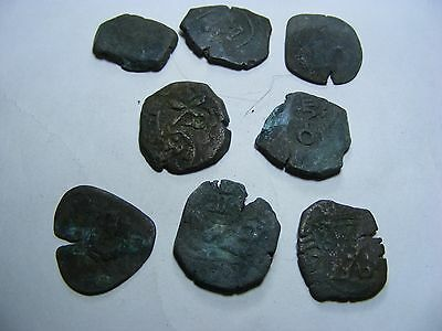 Lot of 8  genuine Spain mid-1600s coins ,bronze..hand-struck,not machine made.