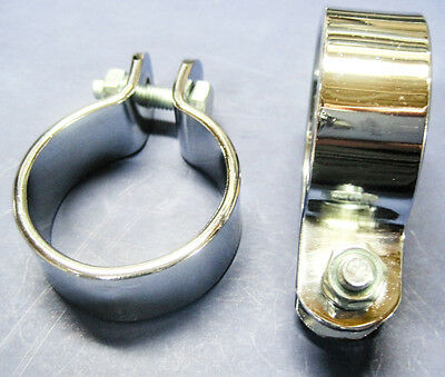 """Muffler clamps 1 1/2"""" motorcycle exhaust clips chrome clamp set of 2"""
