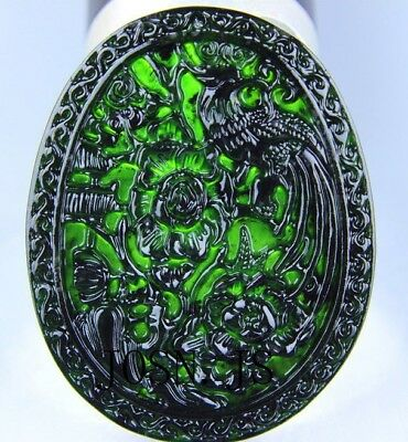 Chinese black green jade Jadeite pendant necklace hand-carved phoenix AAAA