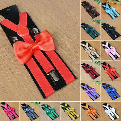 2019 Suspenders and Bow Tie Combo Set Mens Womens Braces Matching Formal Wedding