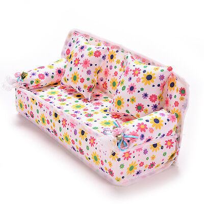 Mini Furniture Sofa Couch +2 Cushions For Doll House Accessories Perfect