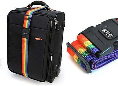 1.7M Travel Luggage Suitcase Strap Rainbow Baggage Backpack Belt Password Lock