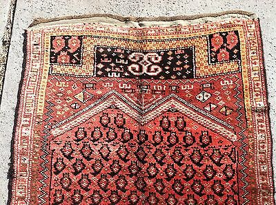 "ANTIQUE 1900s CAUCASIAN KAZAK H/KNOTTED WOOL CARPET RUG VERY RARE 128"" x 44.5"""