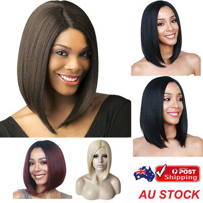 Women's Short Straight Wig Synthetic Cosplay Party Dress Bob Hair Full Wigs AU