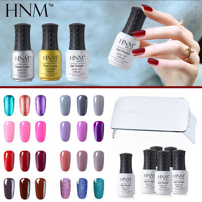 HNM 6pcs Gel Nail Polish + Top Base Coat + UV LED Nail Lamp Starter Kit AU STOCK