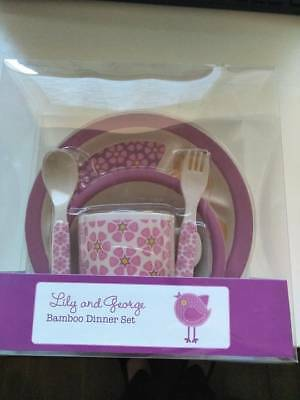 Lily & George Kids Bamboo Dinner Set - Pink