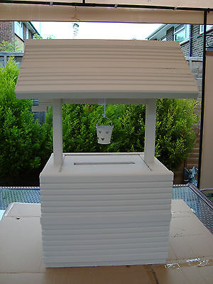 Solid wooden wedding wishing well post box for sale free postage uk with bucket.