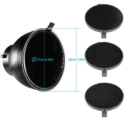"""Neewer 6.6"""" Honeycomb Grid Set with Bowens 7"""" Standard Reflector Diffuser"""