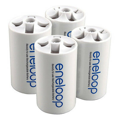 Eneloop Battery Converter Battery Adaptor Holder AA R6 to D R20 D-Size - 4 Pcs