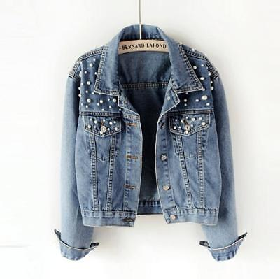 cf97ad51fd743 Womens Fashion Washed Old Blue Pearls Denim Jacket Chic Casual Jean Short  Coat