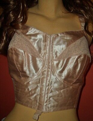 RAR Vintage Triumph Dorit GLANZ SATIN Long BH lachs Pin Up Büstenhalter (B158)