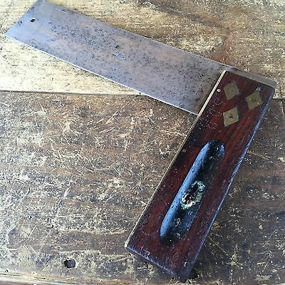 Vintage I&D SMALLWOOD Rosewood & Brass SQUARE Antique Old Marking Hand Tool #8