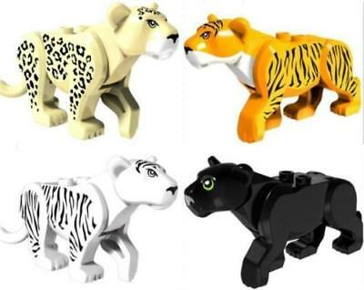 Lot of 4 PCS HOT SALE - LEGO Tiger Cat , Black Panther, Leopard, White Tiger