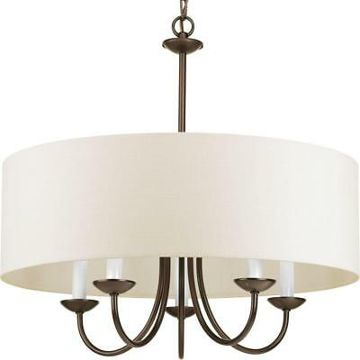 Progress Lighting 5-Light Antique Bronze Chandelier with Beige Linen Shade