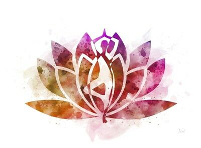Lotus flower yoga symbol watercolor print illustrations print wall art print lotus flower symbol yoga tree pose fitness wall art gift mightylinksfo