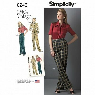 Vintage 1940's Miss Shirt Blouse and Trousers Simplicity Sewing Pattern 8243