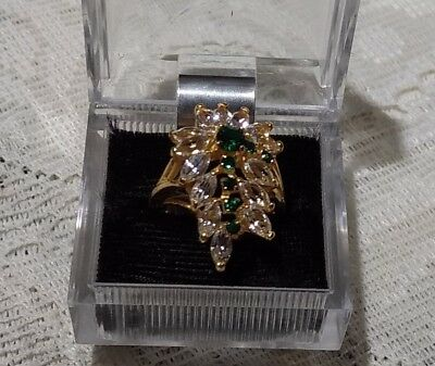 Vintage 14K HGE Green & White CZ Cluster Cocktail Ladies Ring  Size 6  Mint WOW
