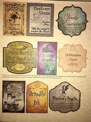 "LABELS ONLY 3"" Apothecary Potion Bottles Harry Potter Party Prop Unique Custom"