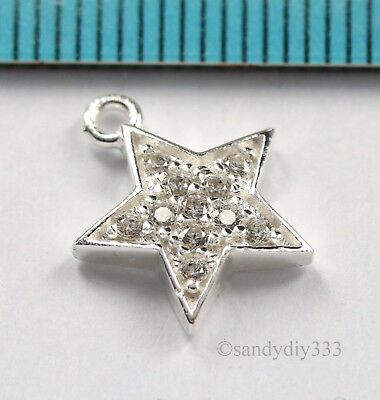 1x BRIGHT STERLING SILVER CZ CRYSTAL STAR DANGLE PENDANT CHARM 11mm #2892